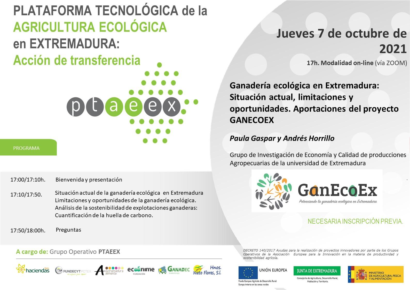 Acción de transferencia. Ganadería ecológica en Extremadura: Situación actual, limitaciones y oportunidades. Aportaciones del proyecto GANECOEX.